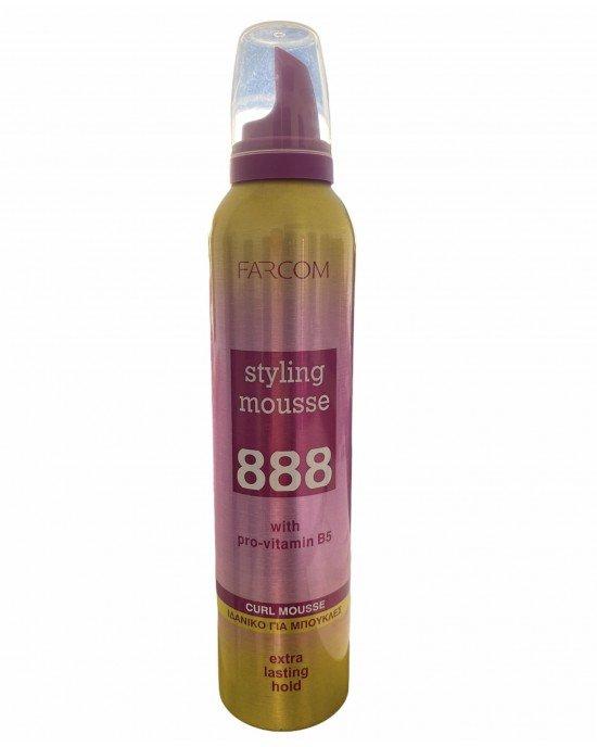 Πακέτo προσφοράς 3+1 δώρο Styling Mousse Extra Lasting Hold.Αφρός χτενίσματος με προβιταμίνη Β5.  ΙΔΑΝΙΚΟ ΓΙΑ ΜΠΟΥΚΛΕΣ  Δημιουργήστε τέλειες, καλοσχηματισμένες μπούκλες όλο ζωντάνια. Η ειδικά σχεδιασμένη σύνθεση 888 curl mousse με προβιταμίνη Β5, χαρίζει