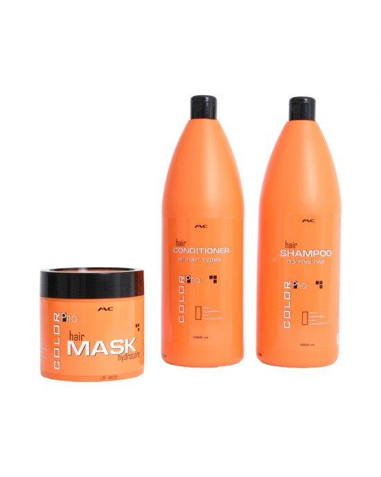 Συνδυασμός shampoo 1000ml  conditioner 1000ml  hair mask 500ml.Με ceramide, αμινοξέα και σιλικόνη. Είναι μοναδική επαγγελματική φόρμουλα που συμβάλλει στην ενυδάτωση και αναδιάρθρωση, ενώ ξετυλίγει και δίνει στα μαλλιά λαμπερή εμφάνιση. Είναι ιδανικό για