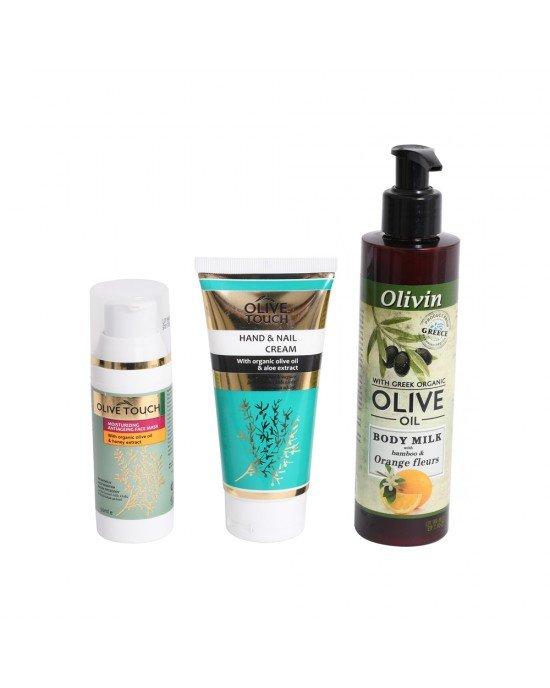 Πακέτo προσφοράς Ενυδατική Αντιγηραντική Μάσκα, Κρέμα Χεριών  Νυχιών  Gel Καθαρισμού Προσώπου.Ενυδατική - Αντιγηραντική Μάσκα Προσώπου με βιολογικό Λάδι Ελιάς και εκχύλισμα μελιού 50ml   Κρέμα Χεριών & Νυχιών με βιολογικό Λάδι Ελιάς και εκχύλισμα Αλόη