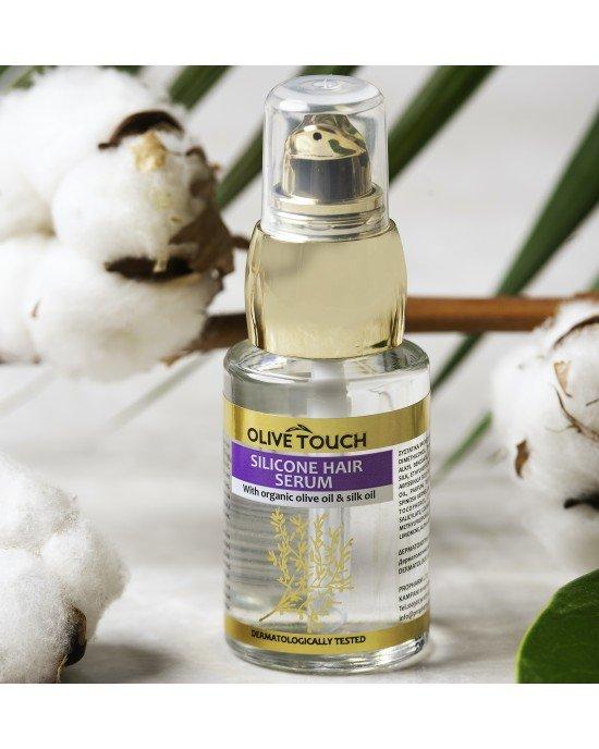 Πακέτo προσφοράς 3+1 δώρο Σιλικόνη μαλλιών 30ml.Επιδόσεις: Βελτιώνει δραστικά την όψη των ταλαιπωρημένων μαλλιών. Επαναφέρει την ισορροπία της τρίχας και ελέγχει το φριζάρισμα. Εφαρμόζεται σε στεγνά μαλλιά.