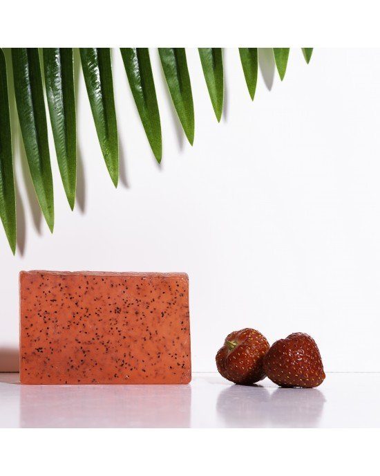 Χειροποίητο Σαπούνι με Βιολογικό Λάδι Ελιάς  Εκχύλισμα Φράουλας